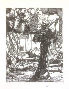 Gravure sur bois, poirier. Détail d'une gravure Alfred Rethel 1851. La mort joue du violon avec un tibia , des corps l'entoure.