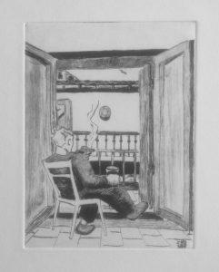 Pointe sèche sur zinc. Plutot crever... devant sa fenêtre, fumant un verre de vin à la main.