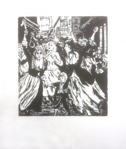 Gravure sur bois. D'après une gravure du XIX siècle, la révolte des femmes.
